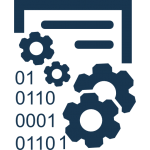 data-management-interface-symbol-with-gears-and-binary-code-numbers